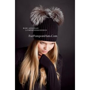 Two fur pompoms beanie - 2 Silver fox bobbles hat - furpompomhats