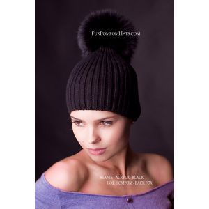 black fox fur pompom hat - real black fur pom pom beanie