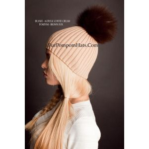 brown fur pompom hat - Brown fox bobble beanie - furpompomhats