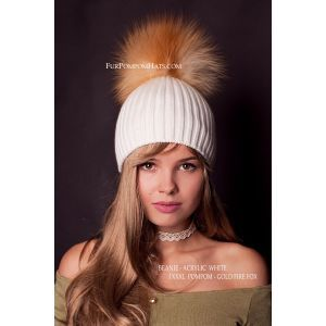 Gold fox pom pom hat - Real fur pompom beanie