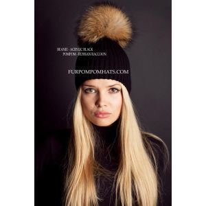 Large fur pompom hat - Raccoon beanie hat - furpompomhats