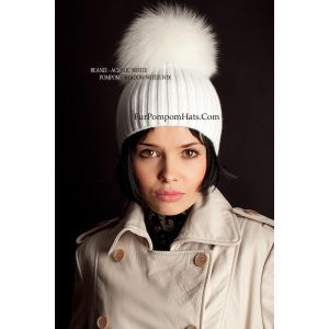 White fur bobble hat - Shadow fox pompom beanie - furpompomhats