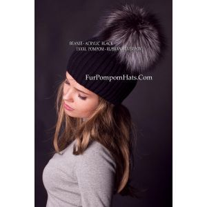 fur pom pom hat - silver fox bobble beanie