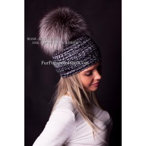 Silver fox pom pom hat - fur bobble beanie